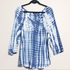 Chaps Tie Dye 3/4 Sleeve Top